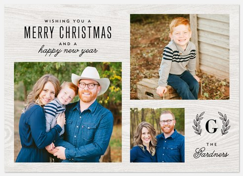 Woodgrain Tidings Holiday Photo Cards