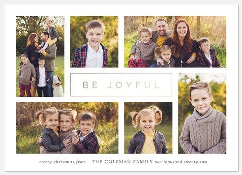 Modern Joy Collage Holiday Photo Cards