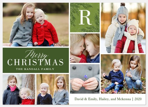 Evergreen Monogram Holiday Photo Cards