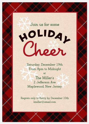 Plaid Cheer Holiday Party Invitations
