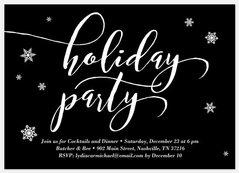 Snowflake Party Holiday Party Invitations
