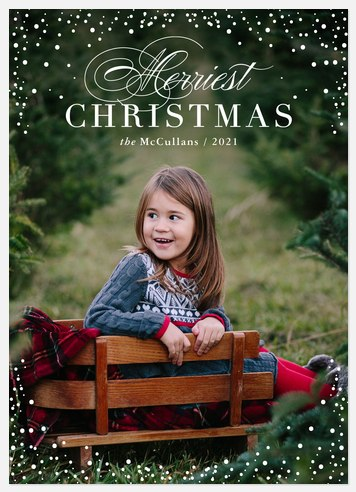 Flourished Snowfall Holiday Photo Cards