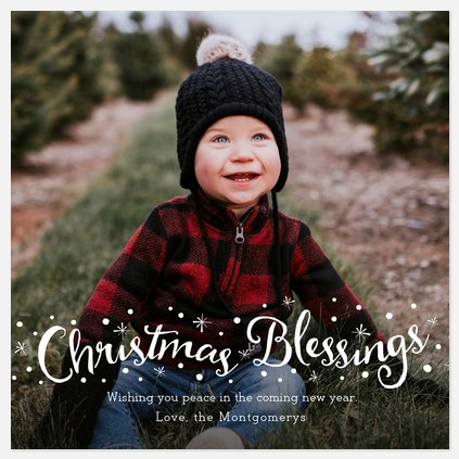 Snowy Blessings Holiday Photo Cards