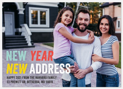 New Year New Address Holiday Photo Cards