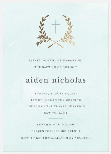 Crossed Laurels Baptism Christening Invitations