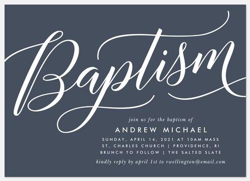 Stately Script Baptism Christening Invitations