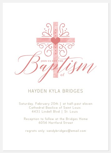 Blessed Heart Baptism Christening Invitations