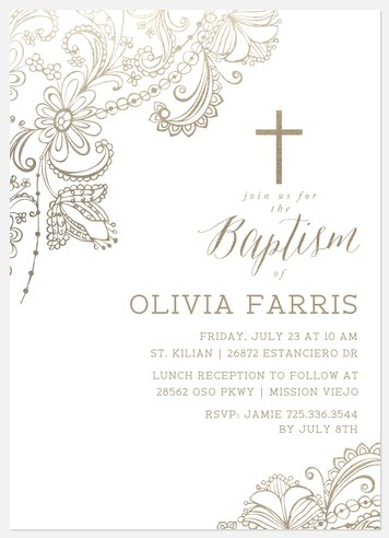 Ornate Flora Baptism Christening Invitations