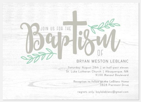 Wooded Grace Baptism Christening Invitations