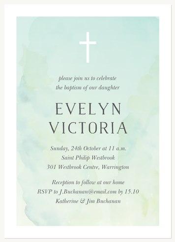 Tranquil Watercolour Christening Invitations | Christening Invites