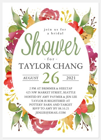 Vibrant Blooms Bridal Shower Invitations