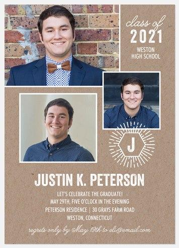 Hipster Monogram Graduation Cards