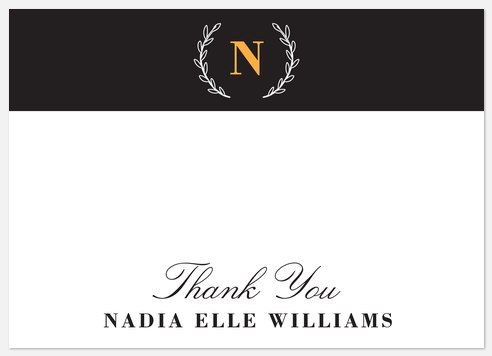 Elegant Monogram Thank You Cards