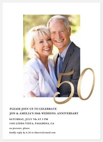 Golden 50 Anniversary Invitations