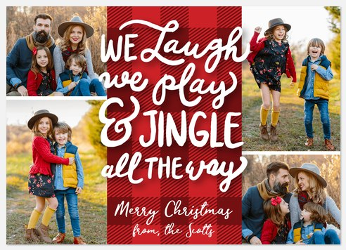 Plaid Poetry Holiday Photo Cards