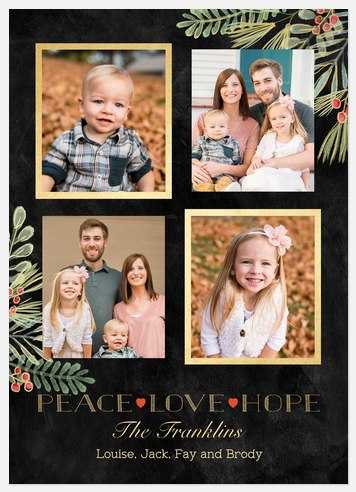 Gilded Greenery Holiday Photo Cards