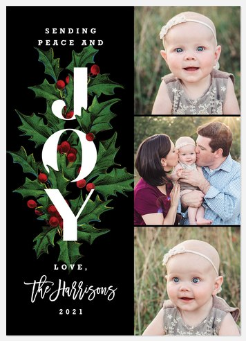 Modern Holly Holiday Photo Cards