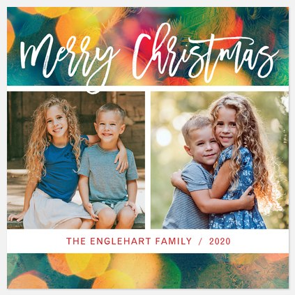 Multicolor Bokeh Holiday Photo Cards