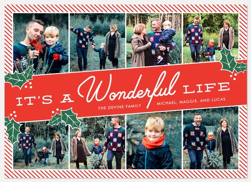 Wonderful Holly Holiday Photo Cards