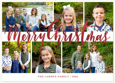 Cranberry Shimmer Personalized Holiday Cards