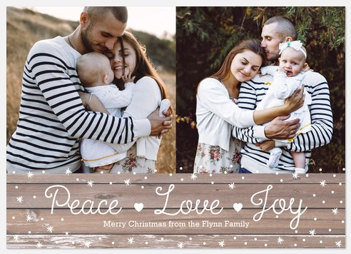 Rustic Peace Holiday Photo Cards