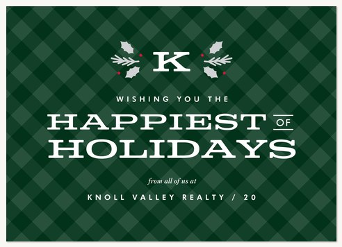 Hollyleaf Plaid Business Holiday Cards