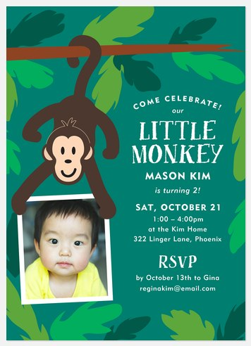 Little Monkey Kids' Birthday Invitations