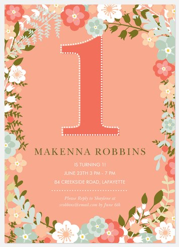 Floral Fun Kids' Birthday Invitations