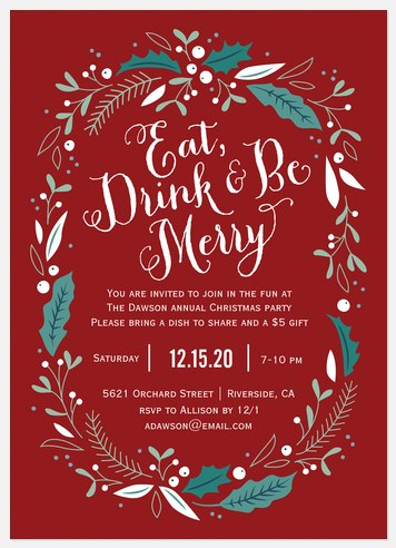 Floral Festivities Holiday Party Invitations