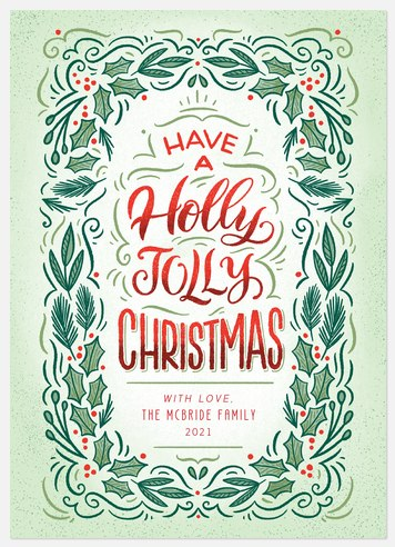 Vintage Holly Holiday Photo Cards