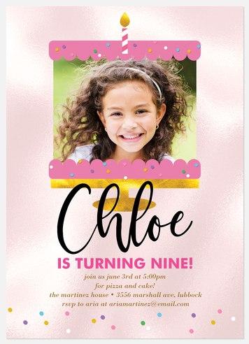 Glimmer Cake Kids' Birthday Invitations