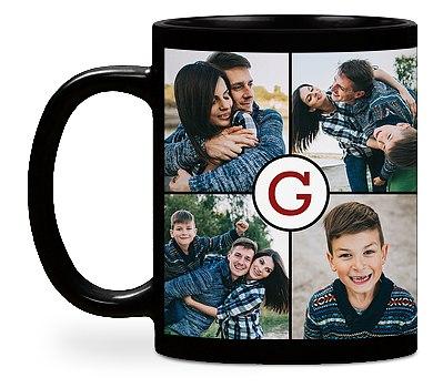 Monogram Grid Custom Mugs