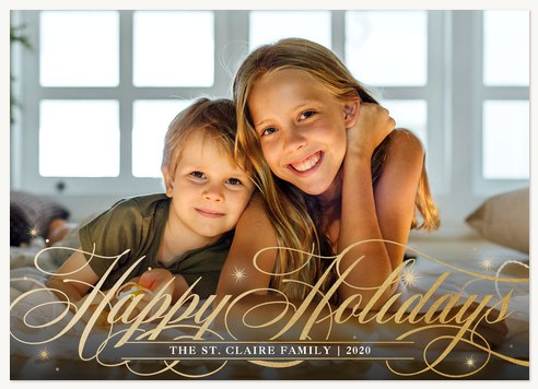Elegant Swash Personalized Holiday Cards