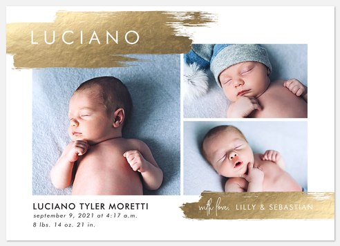 Golden Promise Baby Birth Announcements