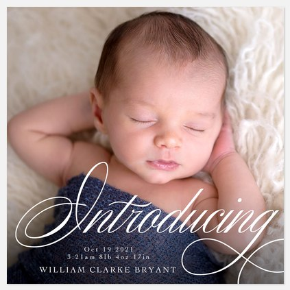 Flourished Introduction Baby Birth Announcements