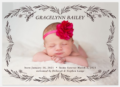 Sprig Border Baby Birth Announcements