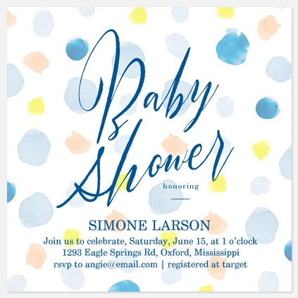 Watercolor Dots Baby Shower Invitations
