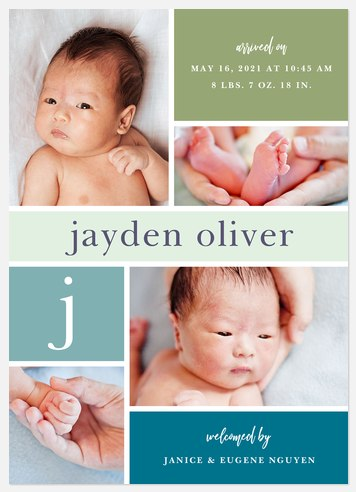 Lullaby Blocks Baby Birth Announcements