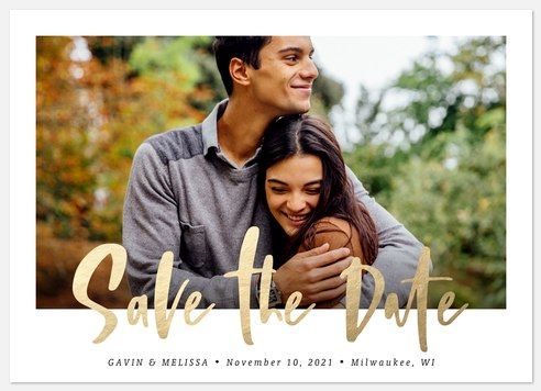 Golden Writing Save the Date Photo Cards