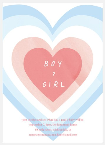 Heart Reveal Baby Shower Invitations