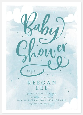 Blue Clouds Baby Shower Invitations