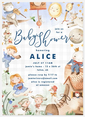 Nursery Rhymes Baby Shower Invitations