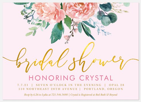 Gilded Garden Bridal Shower Invitations