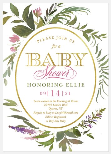 Wreath Flora Baby Shower Invitations