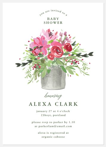 Flower Pot Baby Shower Invitations