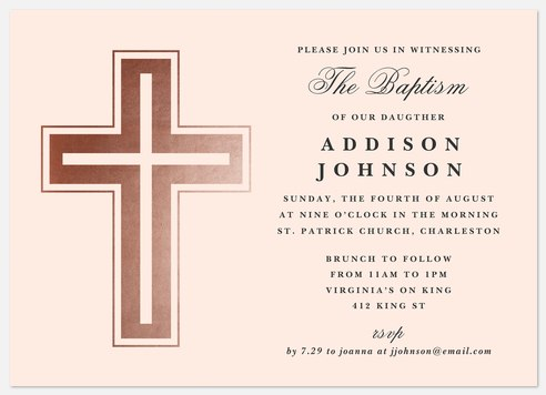 Classic Crucifix Baptism Christening Invitations