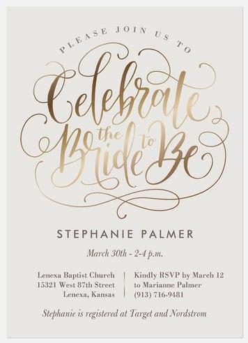 Shimmer Celebration Bridal Shower Invitations