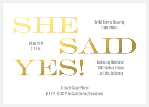 Golden Yes Bridal Shower Invitations