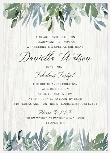 Country Greenery Adult Birthday Invitations