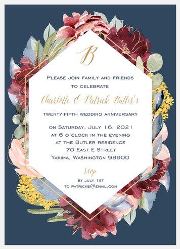 Floral & Brass Anniversary Invitations